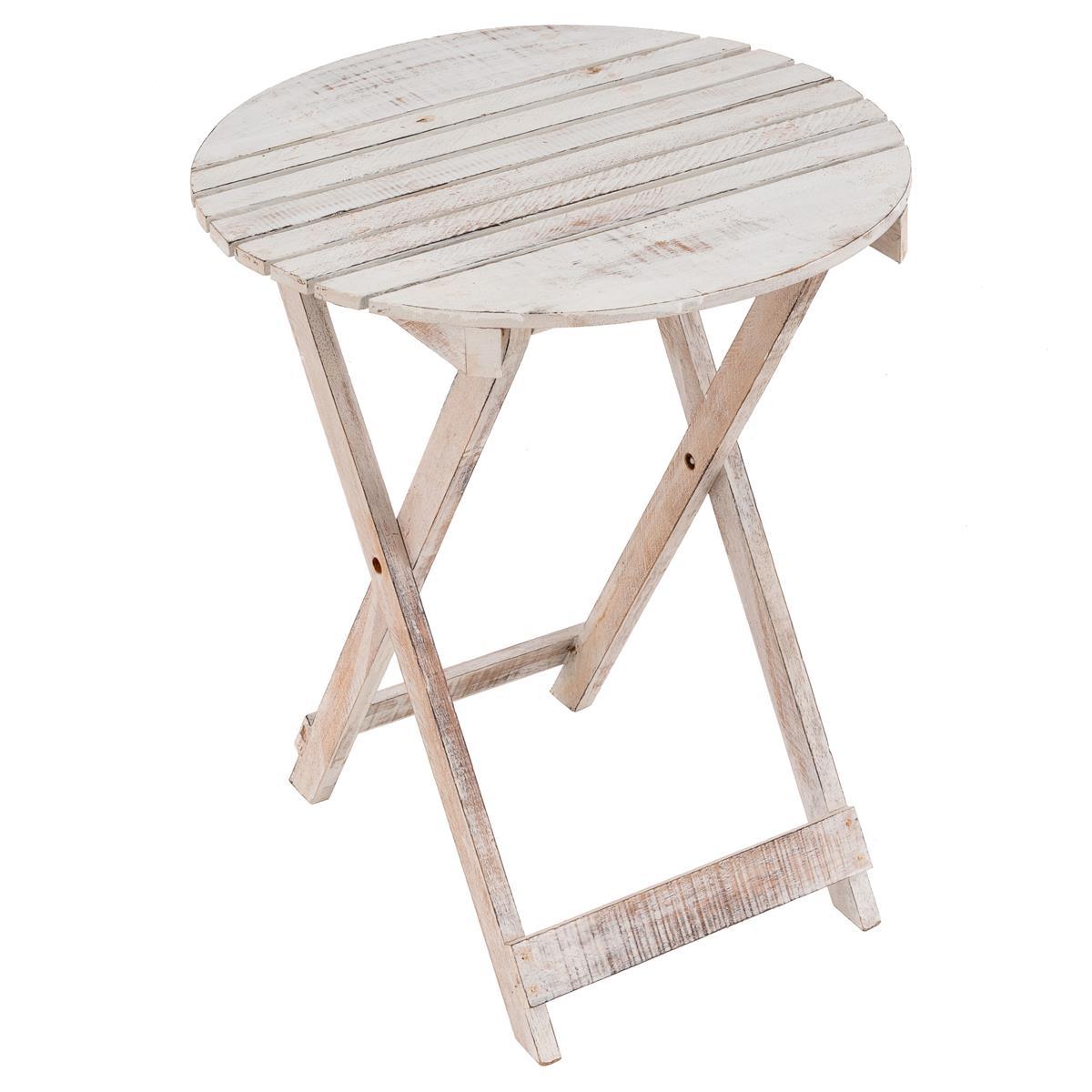 Gartentisch Holz Weiß Vintage.Divero Klapptisch Gartentisch Beistelltisch Klappbar Holz