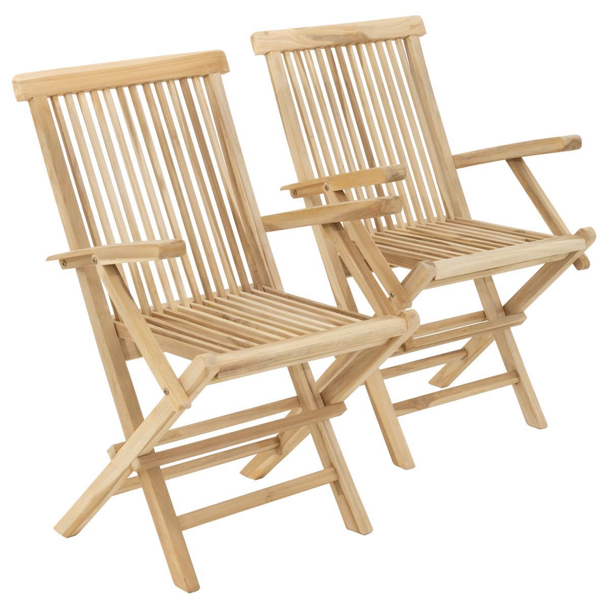 DIVERO Stuhl Teak Holz 2er Set klappbar massiv Holzstuhl Armlehne unbehandelt