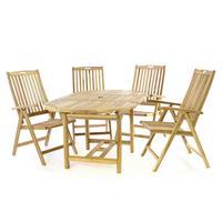 DIVERO Set Gartenmöbel Sitzgruppe Esstisch ausziehbar Armlehne Teakholz