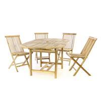 DIVERO Set Gartenmöbel Sitzgruppe Esstisch ausziehbar 4 Stühle Teakholz natur