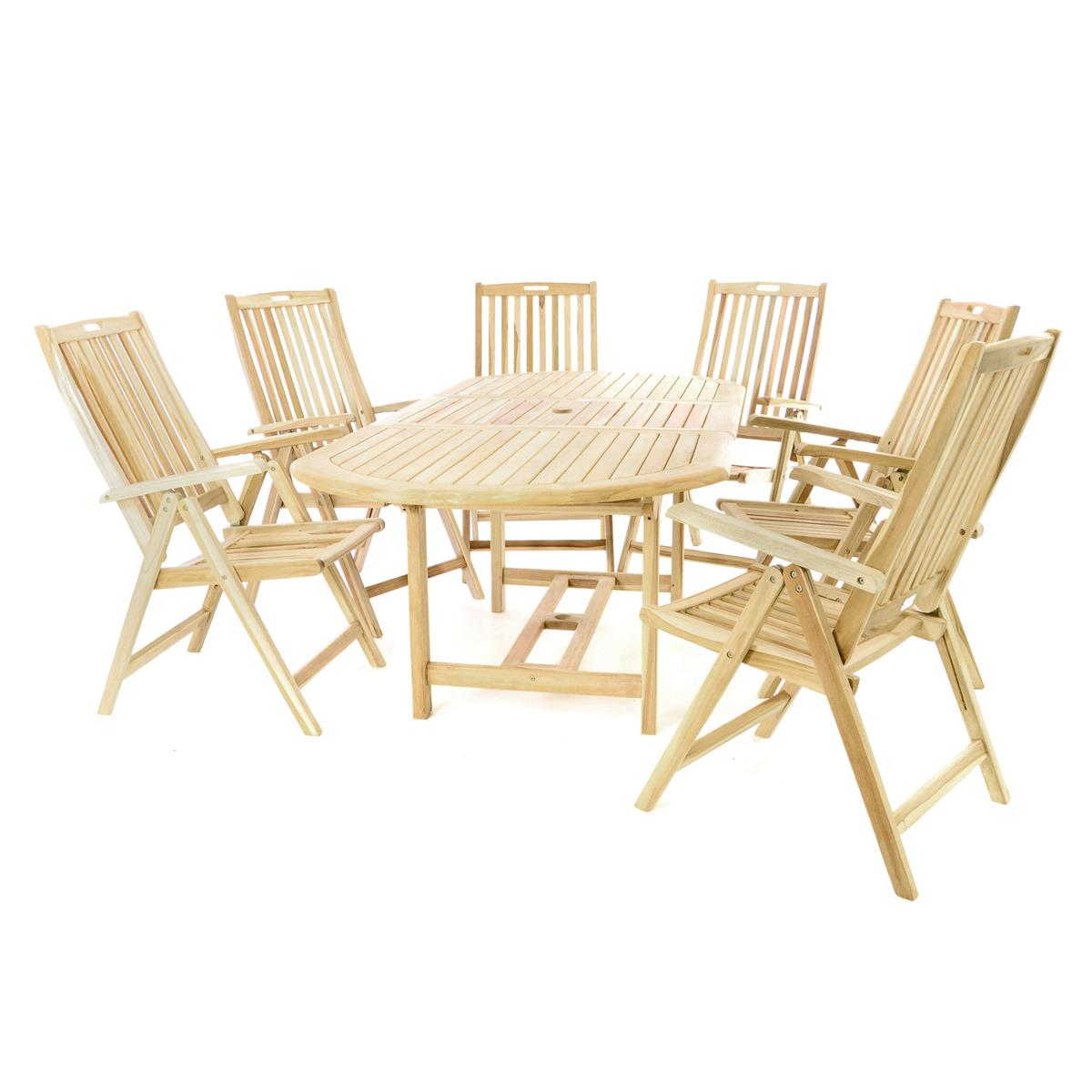 Divero Set Gartenmöbel Sitzgruppe Esstisch Ausziehbar 6