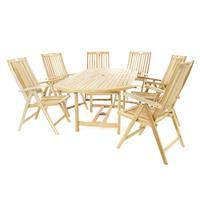 DIVERO Set Gartenmöbel Sitzgruppe Esstisch ausziehbar 6 Stühle Teak Holz natur
