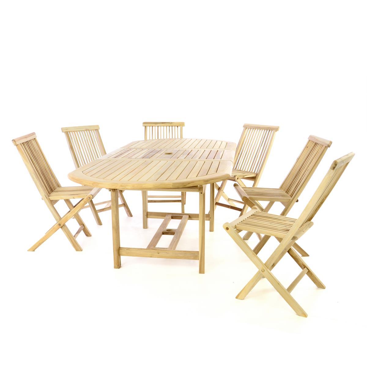 DIVERO Gartenmöbelset Sitzgruppe 6 Stühle Tisch 170/230 cm Teakholz natur