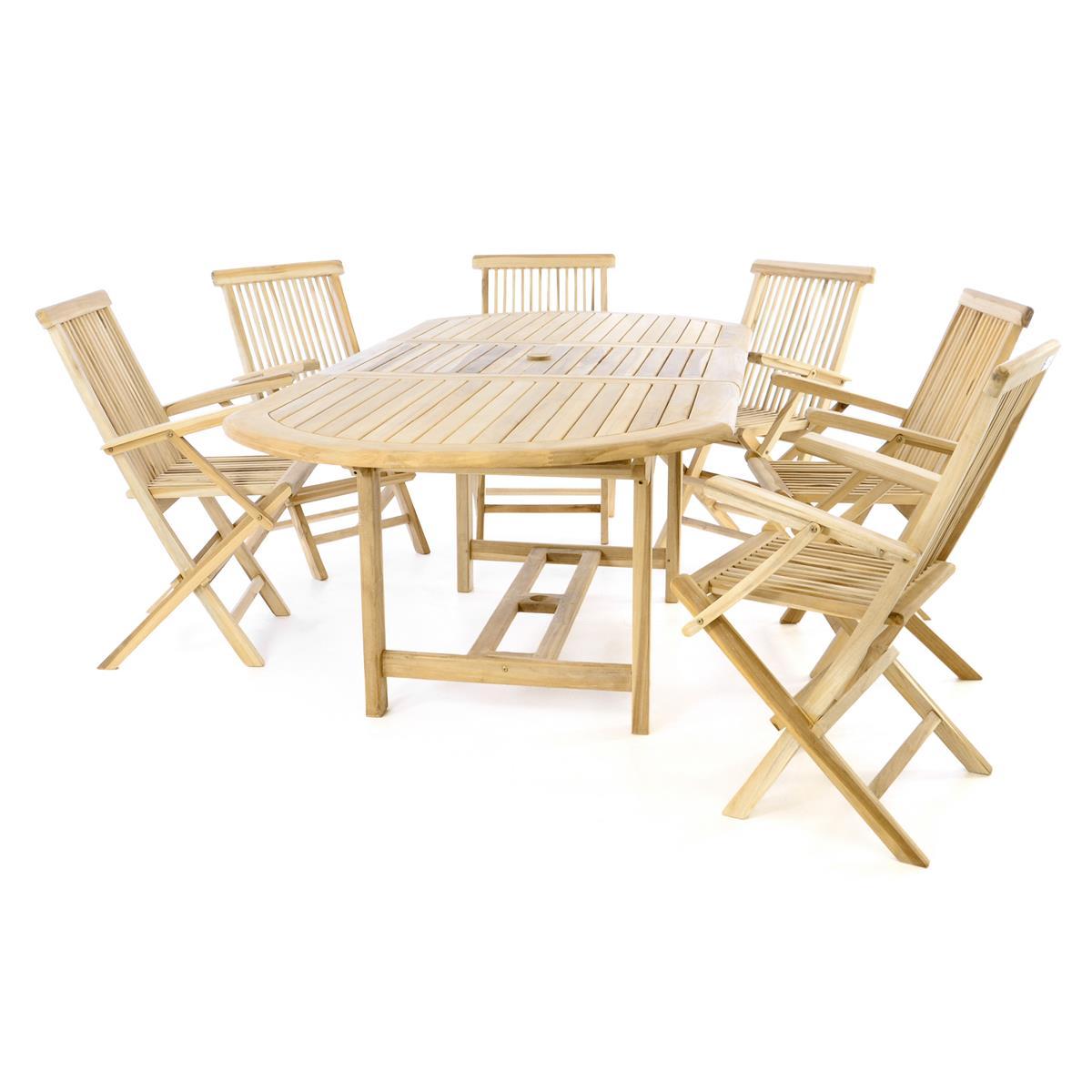 DIVERO Sitzgruppe Gartenmöbelset 6 Stühle Tisch 170/230 cm Teakholz natur