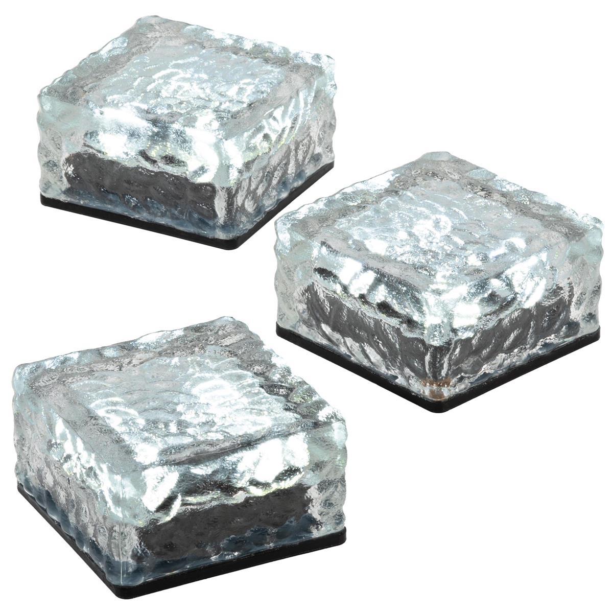 3er Set Solar Glasstein 4 LED weiß 10x10x5 cm Dekoleuchte Milchglas Bodenleuchte