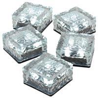 5er Set Solar Glasstein 4 LED weiß 10x10x5 cm Dekoleuchte Milchglas Bodenleuchte