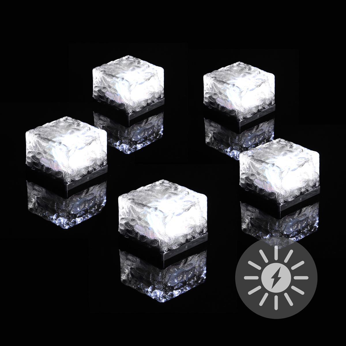 5er Set Solar Ziegel LED weiß Solarlampe Glasstein 7x7x5 cm Bodenleuchte