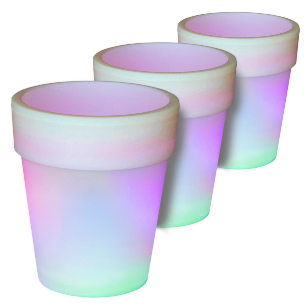 3er Set LED Solar Blumentopf weiß 3 LED mit Farbwechsel 19x17 cm Pflanzkübel