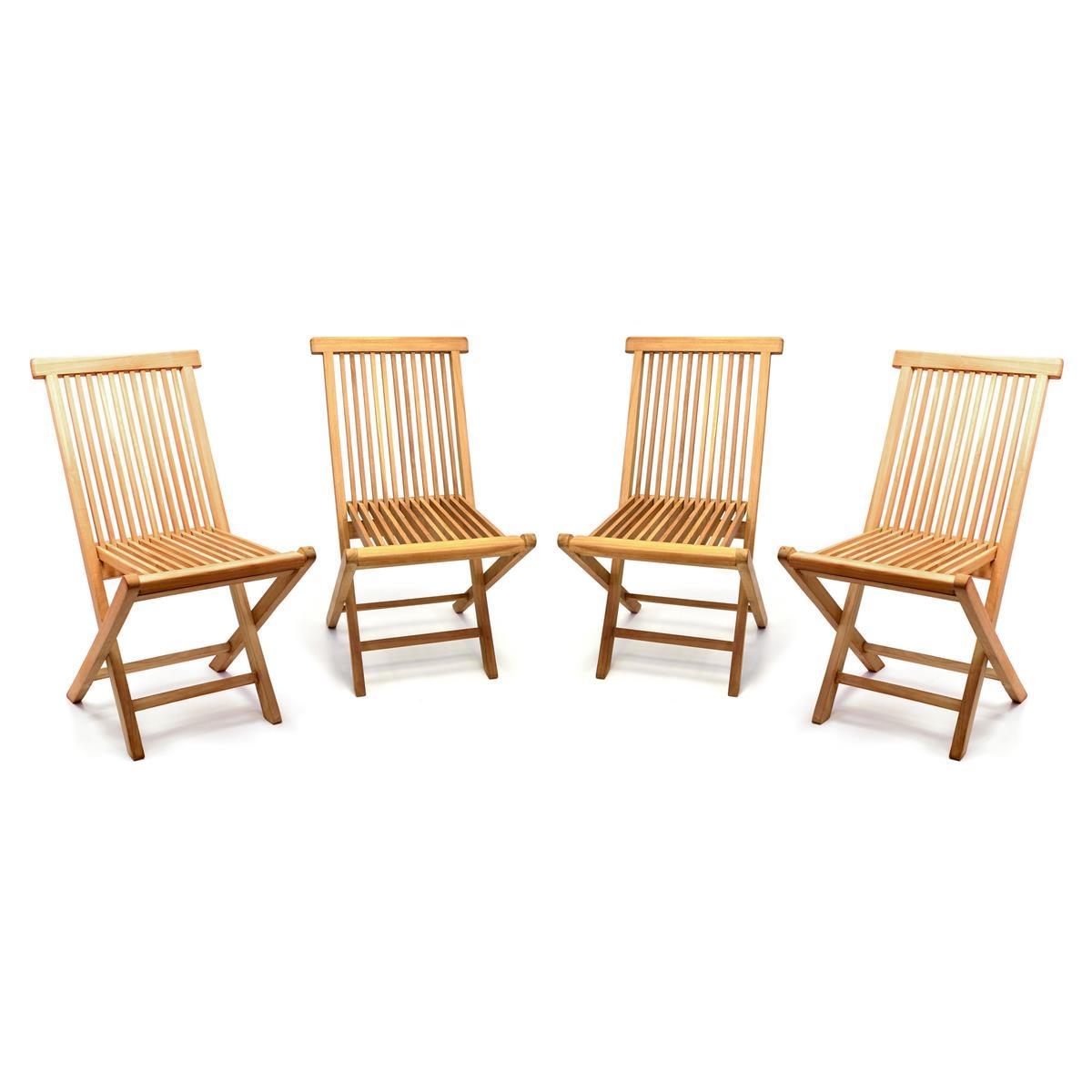 DIVERO 4er Set Gartenstuhl Teak Holz behandelt klappbar Holzstuhl Balkonstuhl