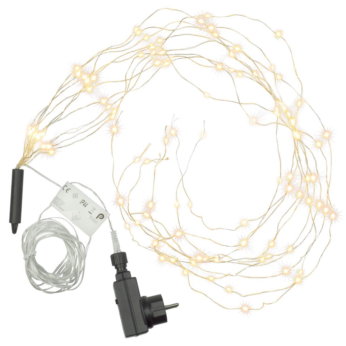100 LED Lichterregen warm weiß Lichterkette 10 Stränge mit je 10 LED Trafo Timer