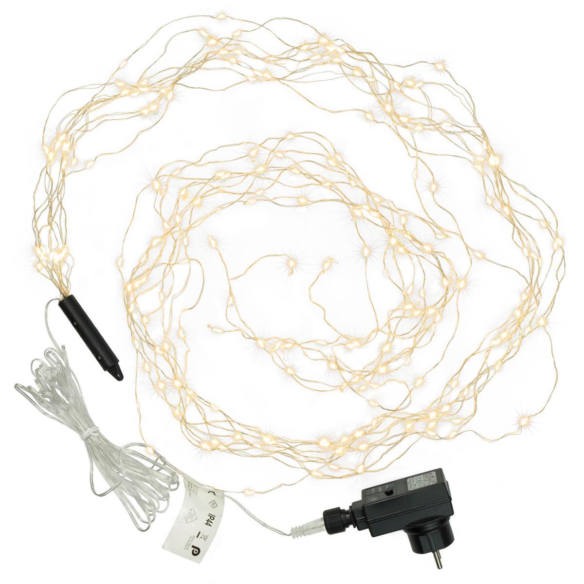 200 LED Lichterregen warm weiß Lichterkette 10 Stränge mit je 20 LED Trafo Timer