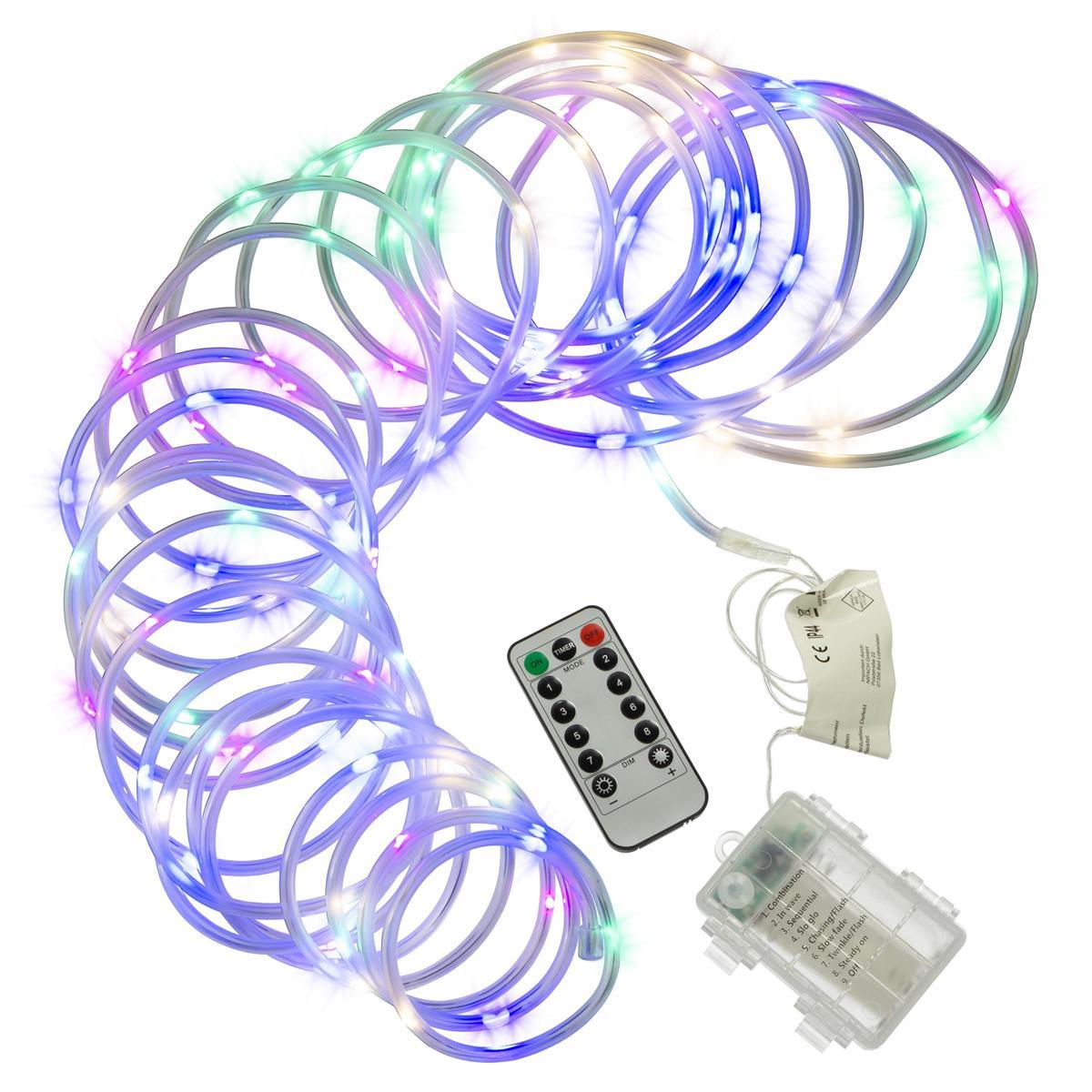 10m Mini-Lichterschlauch 100 LED bunt gefrostet 8 Funktionen Timer außen dimmbar