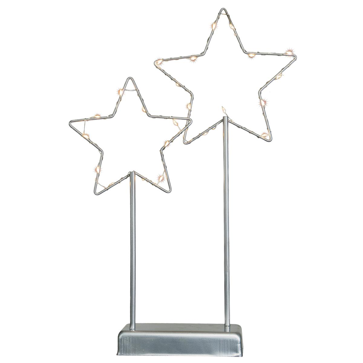"""Dekoleuchte """"Metallsterne"""" 25 LED warm weiß Gestell grau H 37cm Leuchtstern Xmas"""