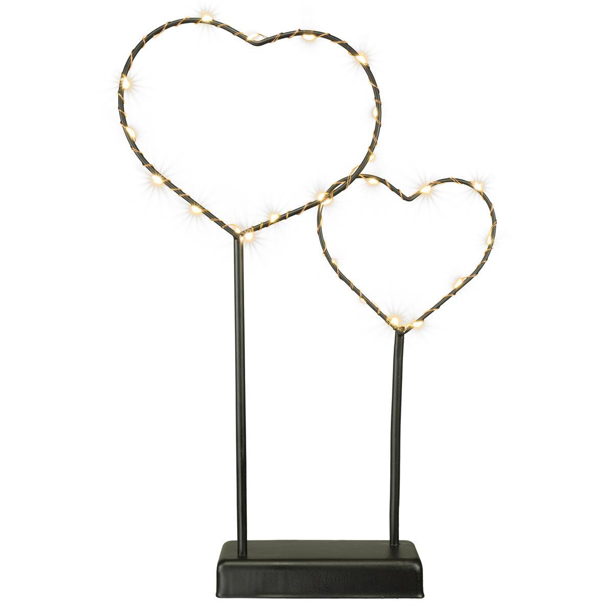 Dekoleuchte Metallherzen 25 LED Silberdraht warmweiß Herzen auf Standfuß schwarz