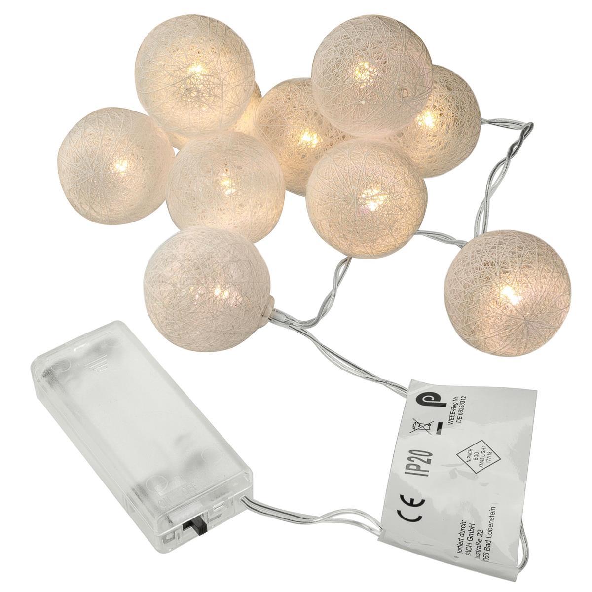10 LED Lichterkette Häkeldesign warm weiß Kugel 4 cm Batterie Weihnachts-Deko