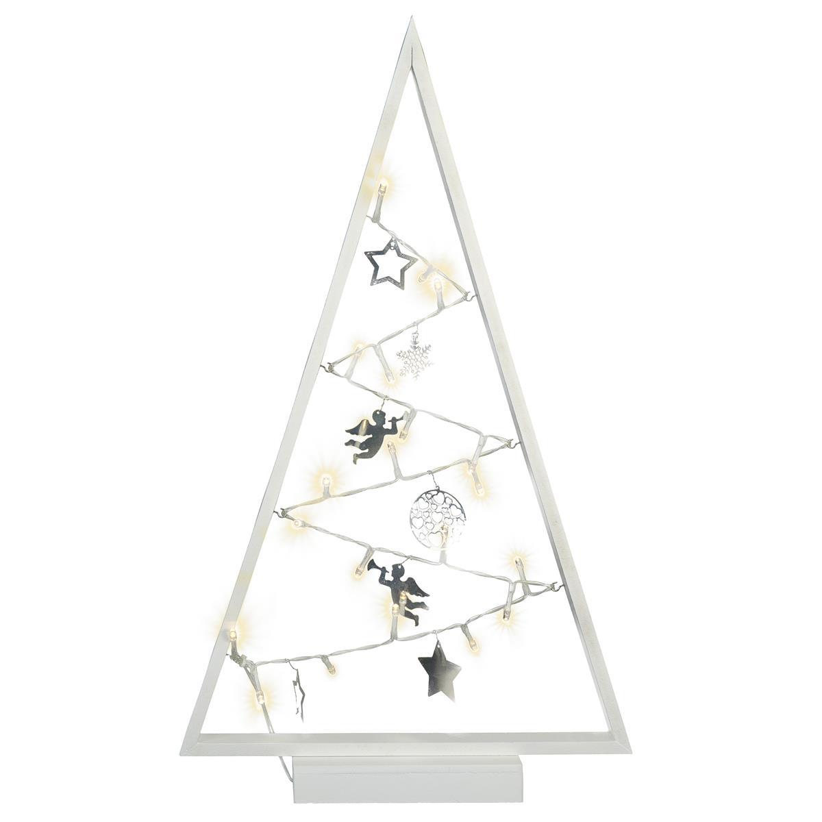 Dekoleuchte Weihnachten Rahmen weiß Lichterkette 20 LED 7 Metallanhänger 50 cm