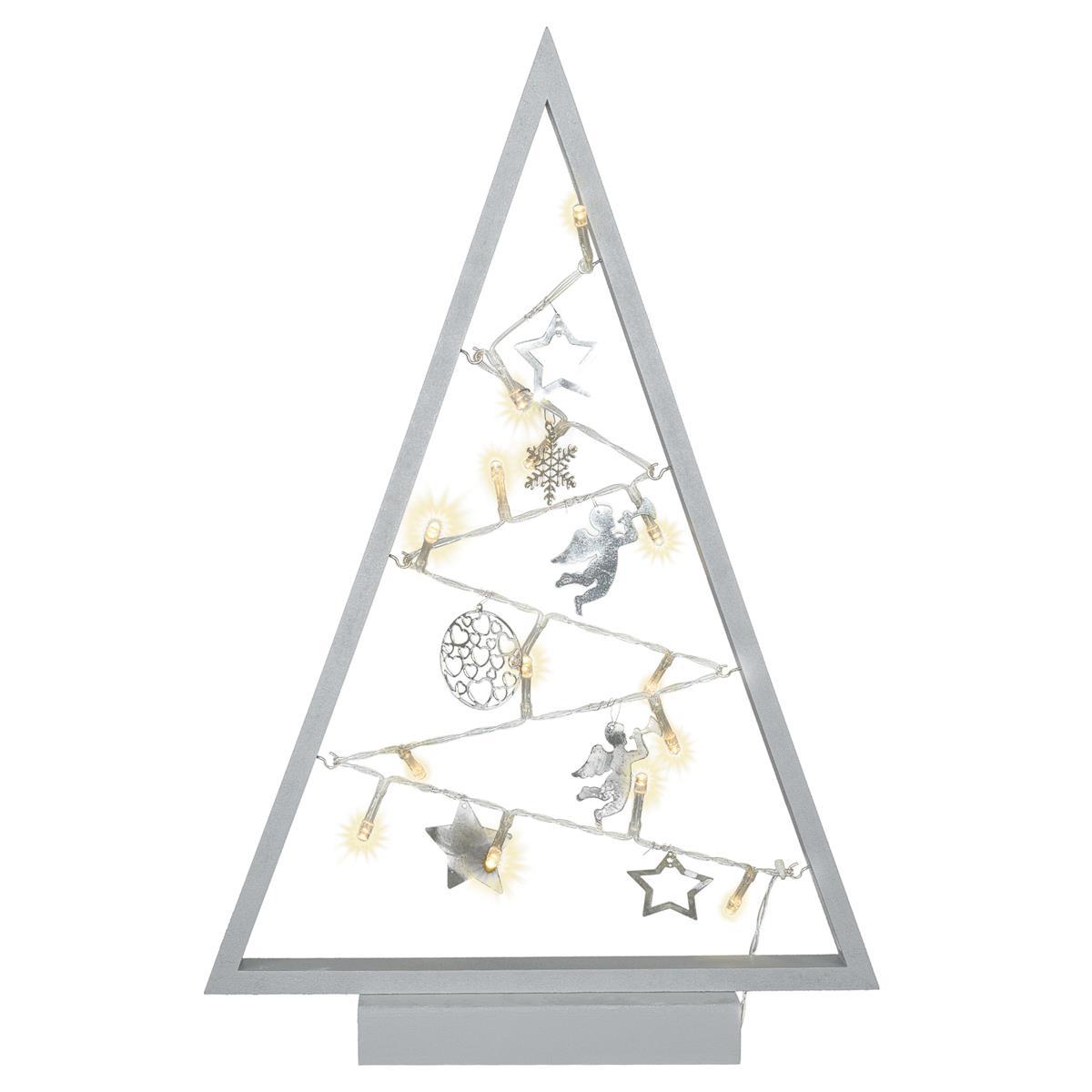 Dekoleuchte Weihnachten Rahmen grau Lichterkette 15 LED 7 Metallanhänger 40 cm