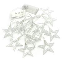 10 LED Lichterkette Glitzersterne warm weiß 6,5 cm Batterie Weihnachts-Sterne