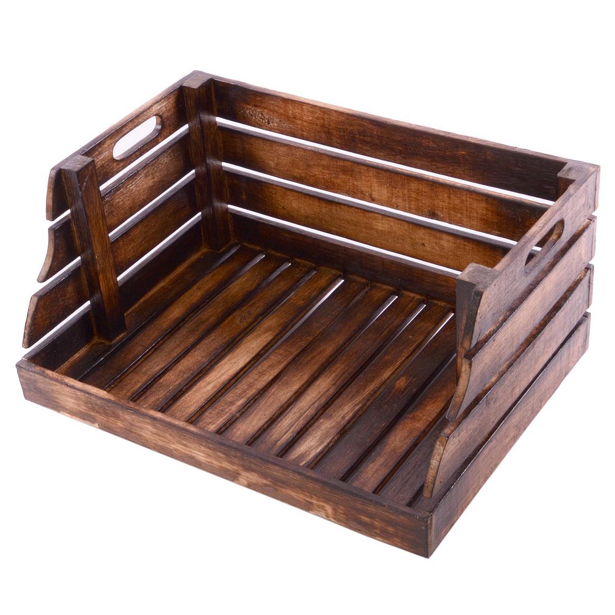 DIVERO Holzkiste Stapelkiste Spielzeugbox Stiege Aufbewahrung 49x35cm