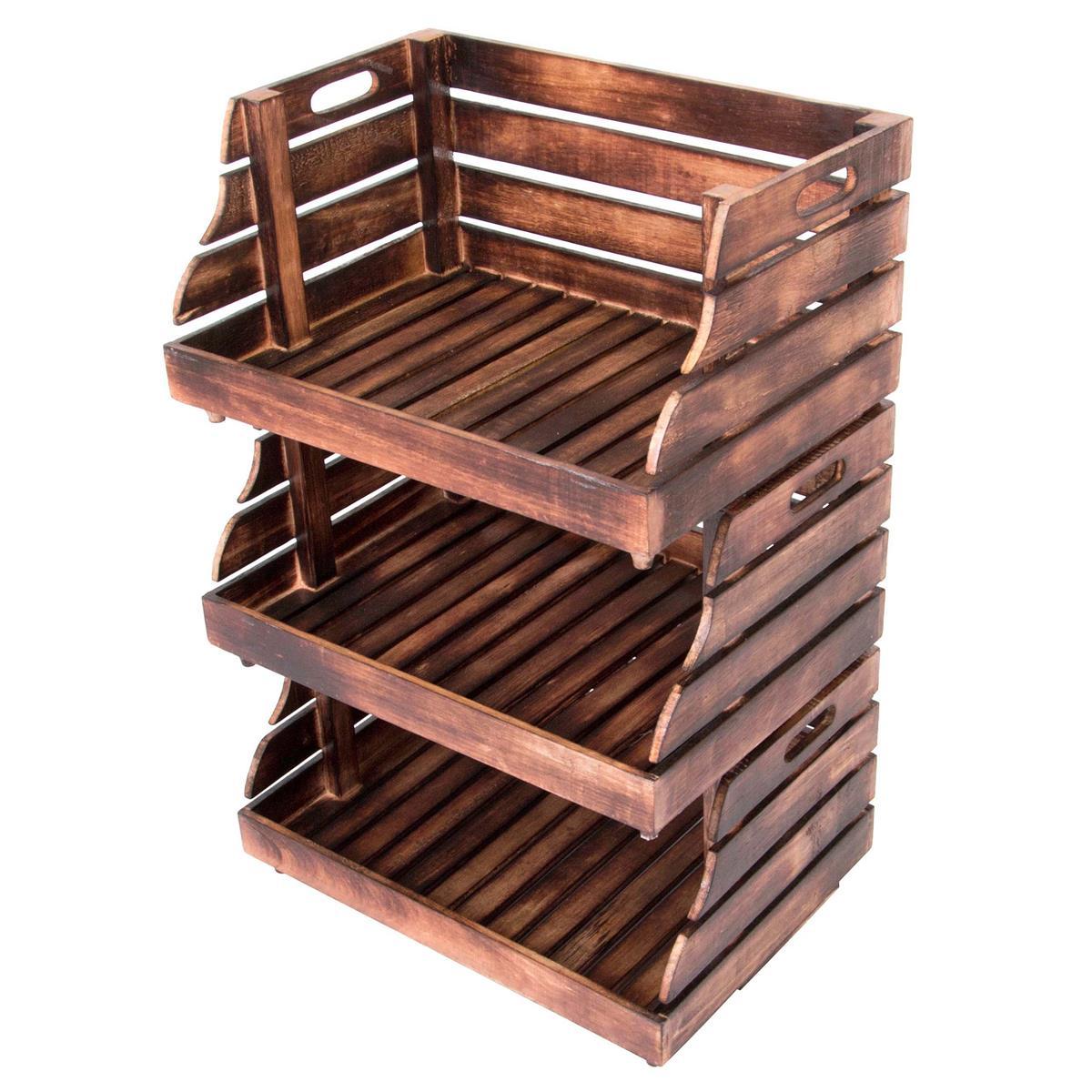 DIVERO 3er Set Holzkiste Stapelkiste Spielzeug Box Stiege Aufbewahrung 49x35