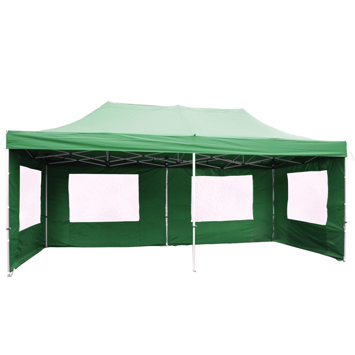 PROFI Faltpavillon Partyzelt 3x6 m grün mit Seitenteilen wasserdichtes Dach