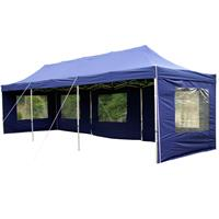 PROFI Faltpavillon Partyzelt 3x9 m blau mit Seitenteilen wasserdichtes Dach