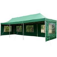 PROFI Faltpavillon Partyzelt 3x9 m grün mit Seitenteilen wasserdichtes Dach