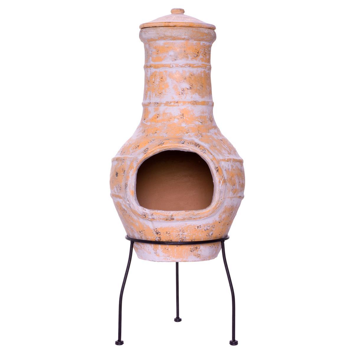 Terrassenofen 85 cm Feueröffnung 20x15 cm 19 kg  Terracotta Gartenkamin