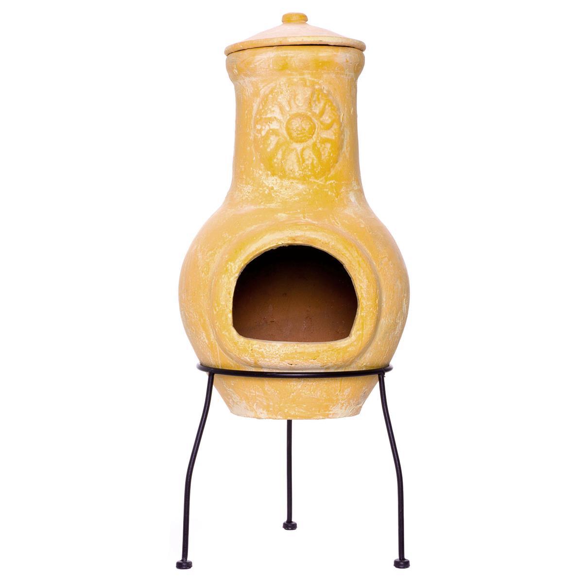 Terrassenofen Terracotta 77 cm Yaqui 16 kg Dreibein Stahlgestell Schlot
