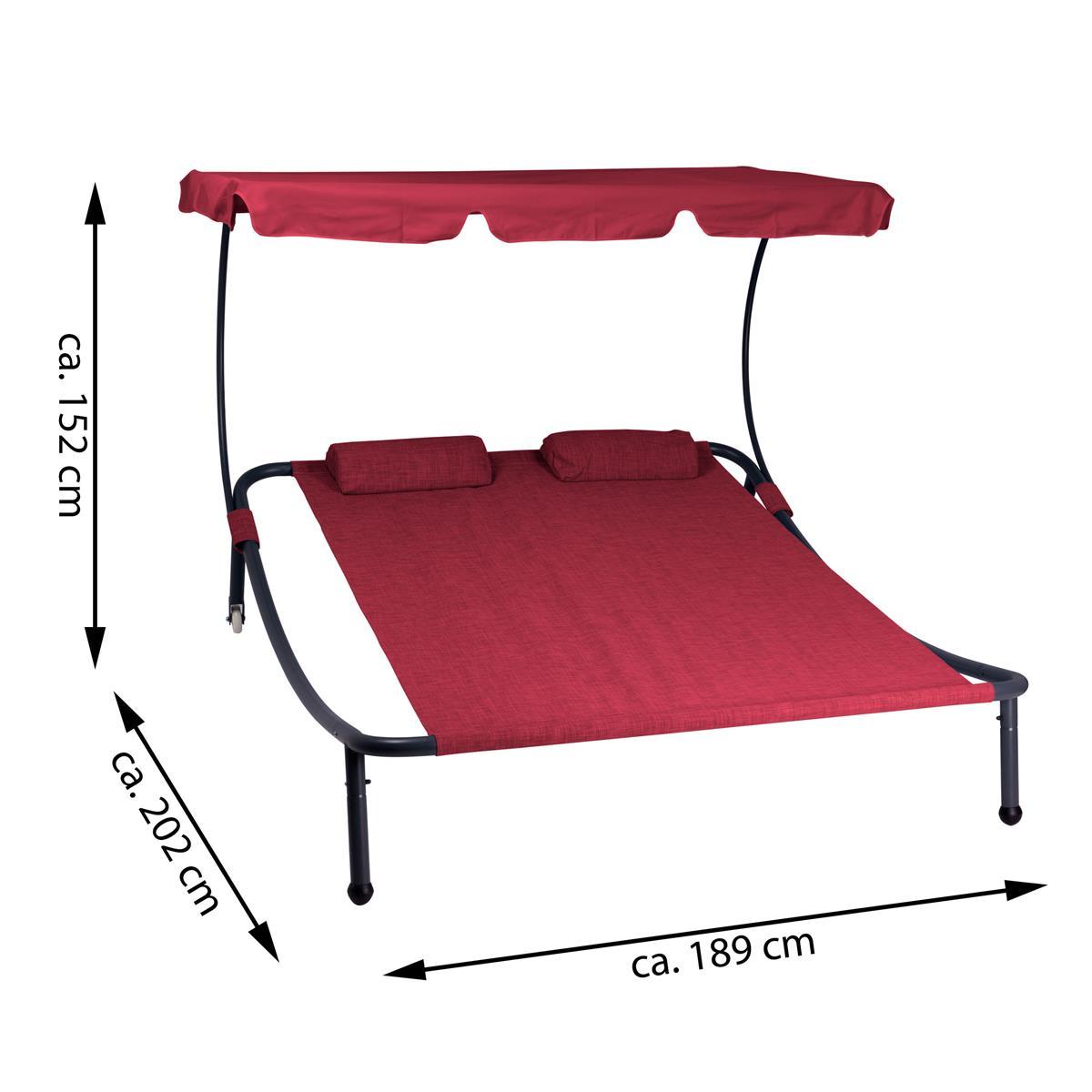 divero sonnenliege 202x189x152 mit sonnendach rot r der. Black Bedroom Furniture Sets. Home Design Ideas