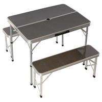 Picknickset klappbar Tisch 2 Bänke Aluminium 90 cm Sitzgruppe silber Schirmloch