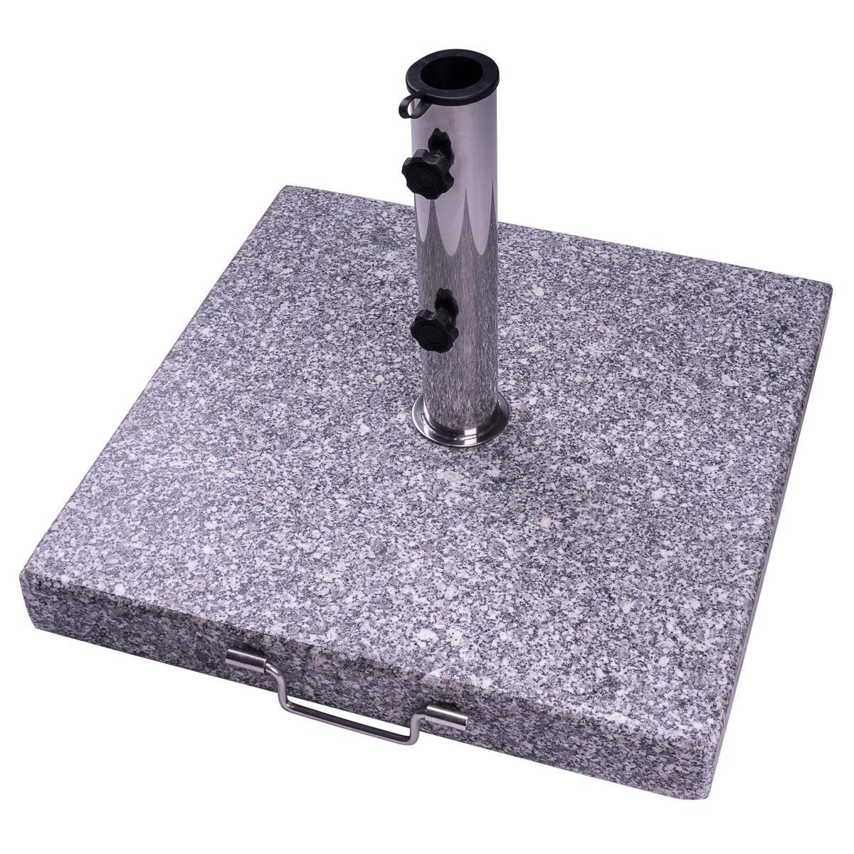 Sonnenschirmständer 40kg Granit grau meliert viereckig 50x 50cm mit Griff Rollen