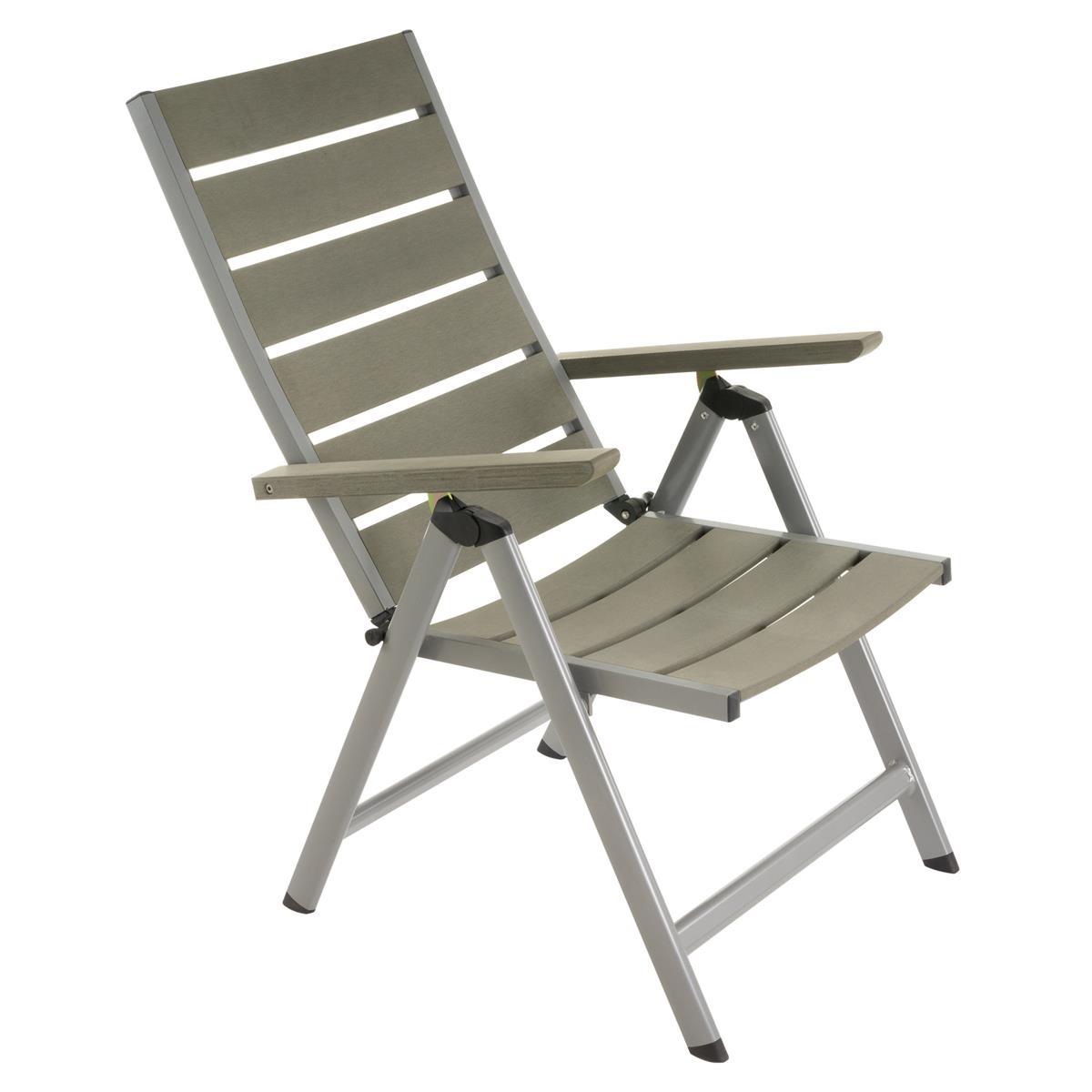 Gartenstuhl Klappstuhl grau klappbar Aluminium Polywood Hochlehner Klappsessel