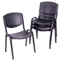 Besucherstuhl 4er Set Bürostuhl Konferenzstuhl Sitzfläche schwarz Kunststoff