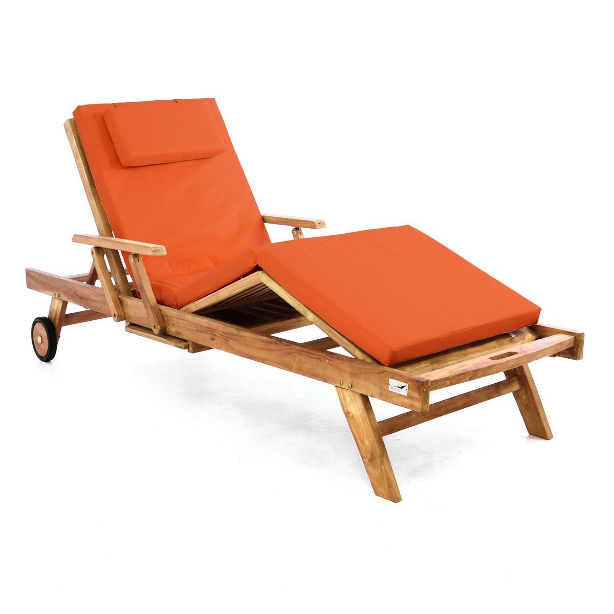 DIVERO Sonnenliege Gartenliege Tablett Teak Holz behandelt Auflage orange