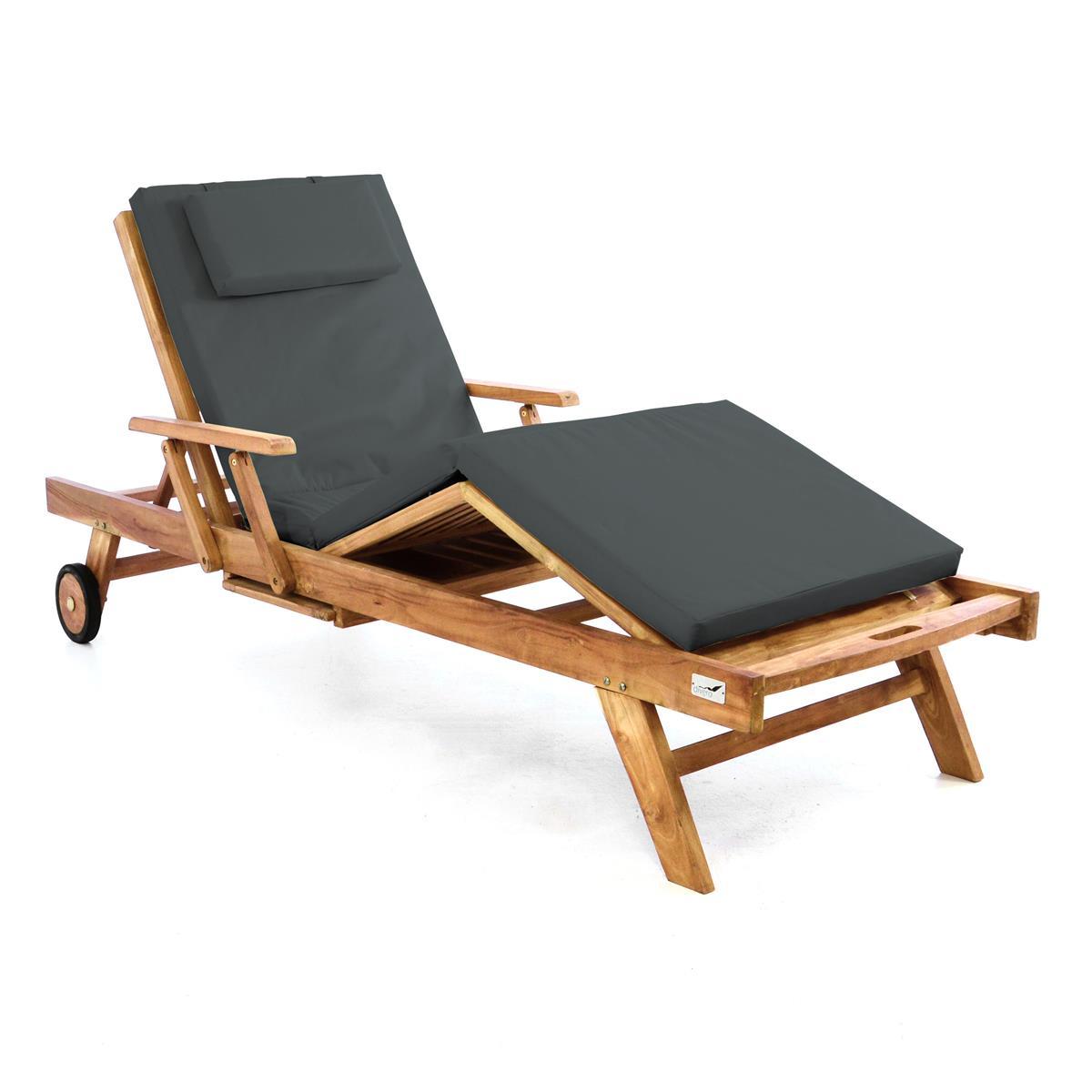 Wunderbar DIVERO Sonnenliege Gartenliege Tablett Teak Holz Behandelt Auflage Anthrazit