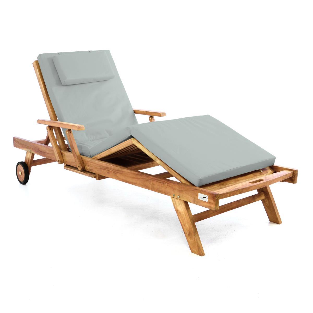 DIVERO Sonnenliege Gartenliege Tablett Teak Holz behandelt Auflage hellgrau