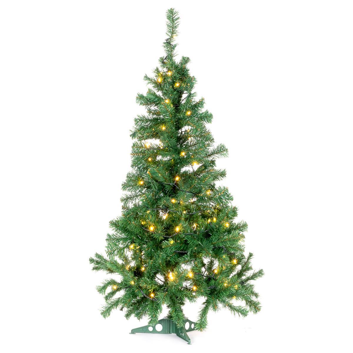 künstlicher Weihnachtsbaum 120 cm mit Ständer und 100 LED Lichterkette Xmas