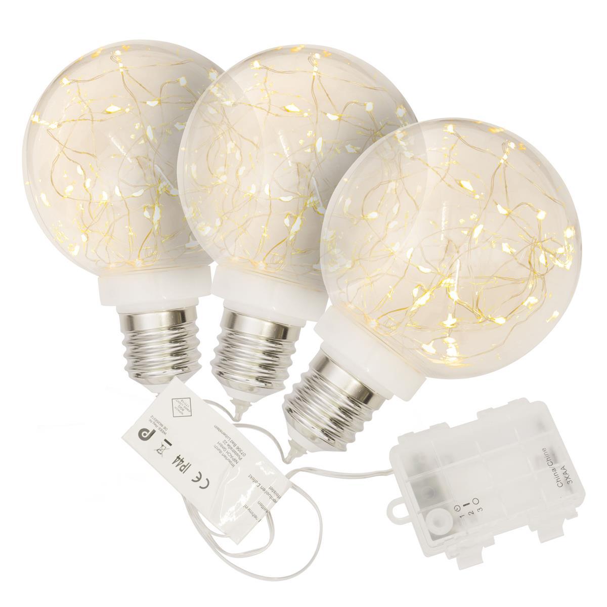 3er Set Dekokugel Glühbirne 30 LED warm weiß 12 cm Lichterkugel Batterie Timer
