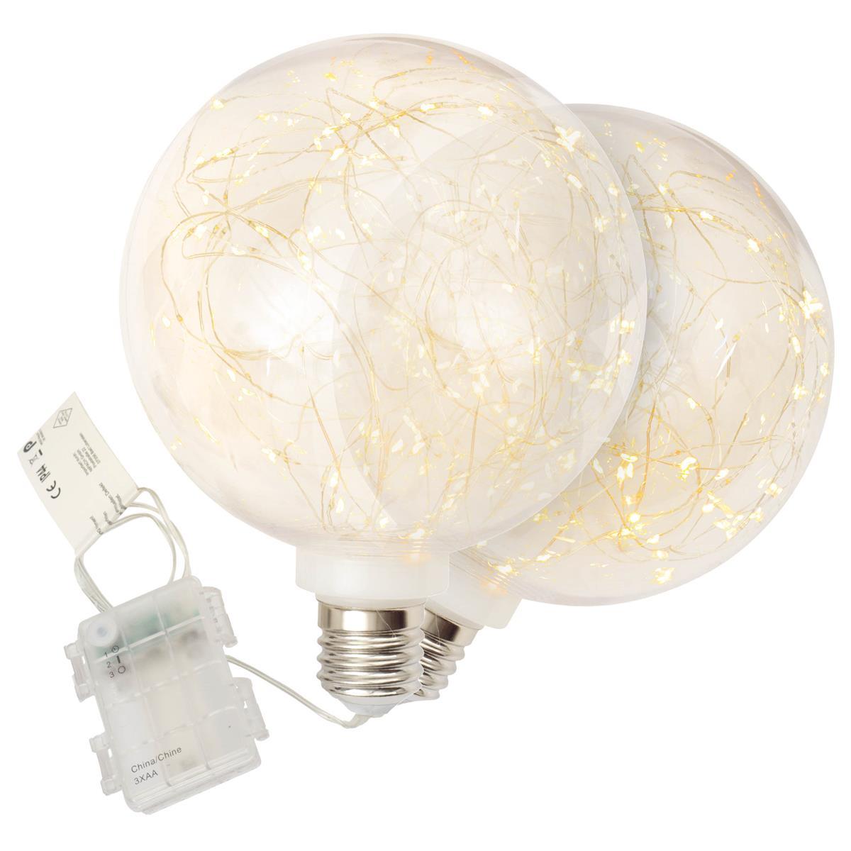 2er Set Dekokugel Glühbirne 80 LED warm weiß 20 cm Lichterkugel Batterie Timer