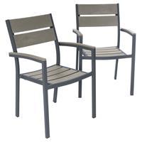 2er Set Gartenstuhl mit Armlehnen Aluminium Polywood Stapelstuhl 54 x 55 x 82 cm