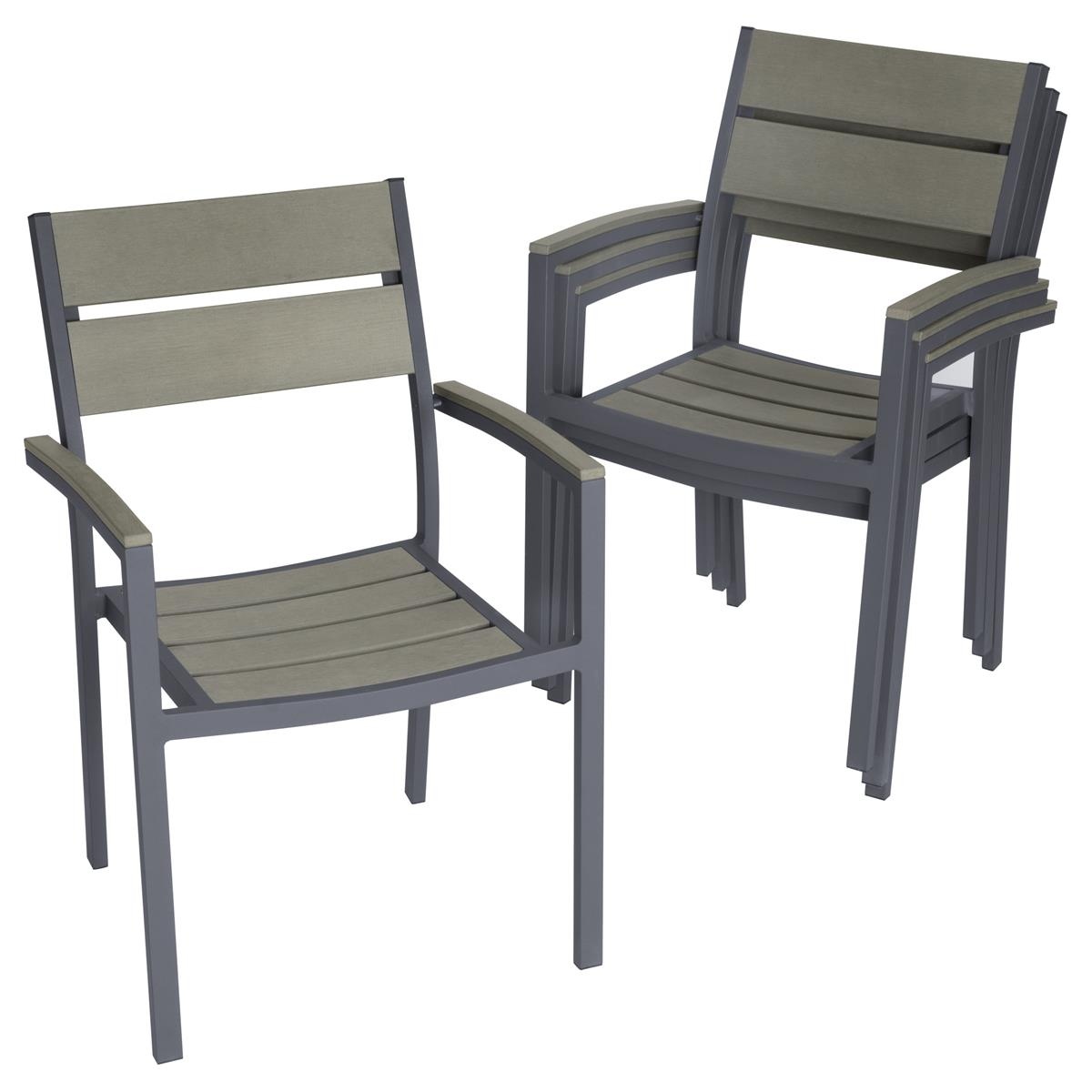 4er Set Gartenstuhl mit Armlehnen Aluminium Polywood Stapelstuhl 54 x 55 x 82 cm