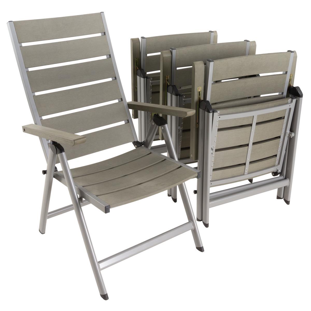4er Set Gartenstuhl Klappstuhl grau Aluminium Polywood Hochlehner Gartenmöbel