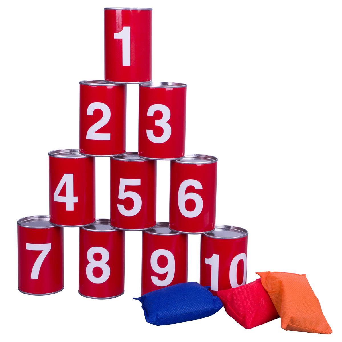 Dosenwerfen Dosenwurf-Spiel Büchsenwerfen 10 Dosen 3 Wurf-Säckchen