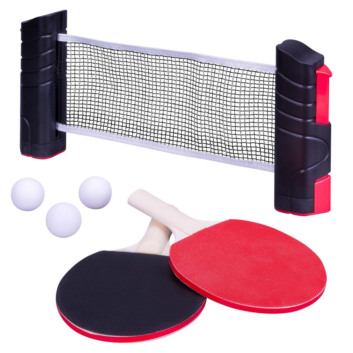 6teiliges Tischtennis Set Schläger und Netz mit Schnellspann und Aufrollfunktion
