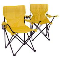 2er Set Faltstuhl Campingstuhl mit Armlehne und Getränkehalter gelb Angelstuhl