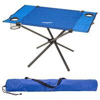 Divero Campingtisch Falttisch faltbar 80x50cm blau mit Getränkehalter Polyester