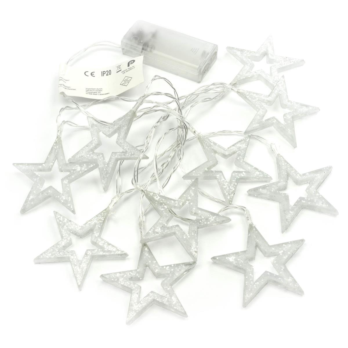 "2er Set 10 LED Lichterkette ""Glitzersterne"" warm weiß Ø 6,5 cm Batterie Xmas"