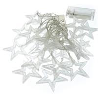 2er Set 20 LED Lichterkette Glitzersterne warm weiß 6,5 cm Batterie Xmas