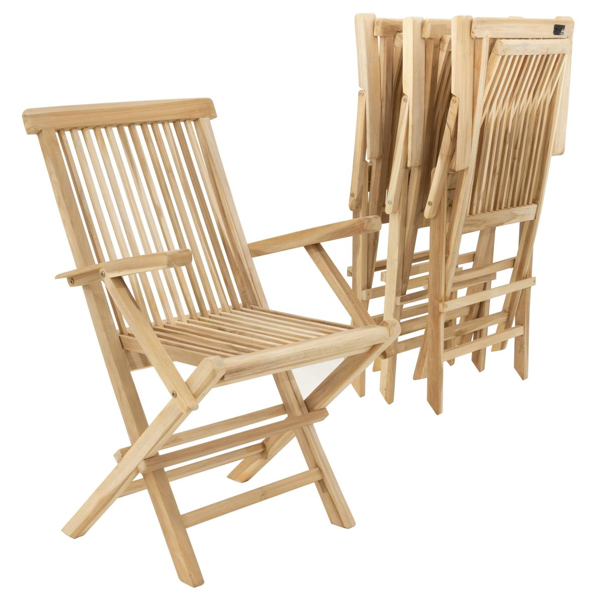 DIVERO 4er Set Gartenstuhl Klappstuhl Hochlehner Armlehnen Teak Holz natur